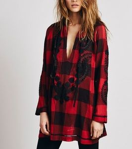 Free People Embroidered Check Tunic